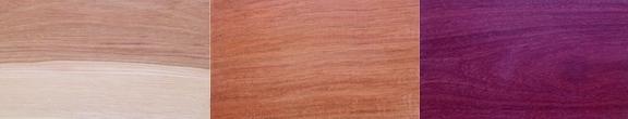 Hilt Wood Choices - Hickory,  Jatoba,  Purple Heart